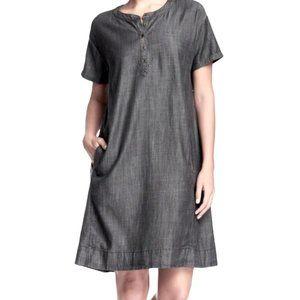 Eileen Fisher Mandarin Collar Chambray Shirtdress
